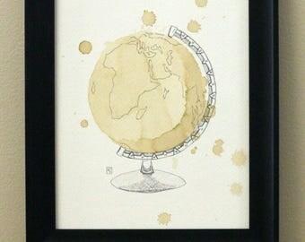 Vintage Coffee Globe Art Print