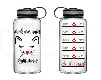 Drink Your Water Right Meow Water Bottle