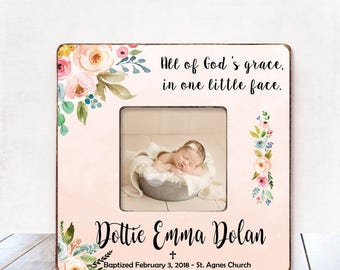 Baptism Gift GIRL Christening Gift GIRL Personalized Picture Frame Baptism Gift for Goddaughter Gift Goddaughter Baptism Gift Christening B8
