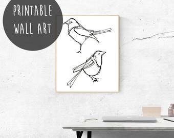 Instant Download, Magpie, British Birds, Black and White Bird Prints, Garden Birds, Garden Decor, Bird Printable, Black and White Wall Art.
