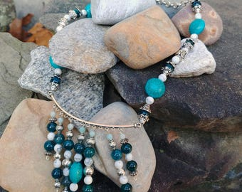 Howlite and Glass Necklace