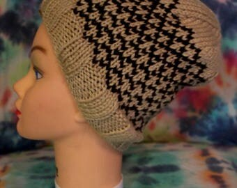 Tan and Brown Diamond Knit Hat