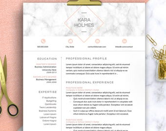 Modern Resume Template Word, 1-3 Page Resume | CV Template | Professional Resume | Cover Letter | marble resume, Watercolor Teacher CV Word