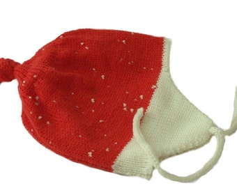 Baby hat Red x-mas baby hat with tassels  LET IT SNOW First Christmas Baby gift Winter hat Little santa claus Double layer hat baby