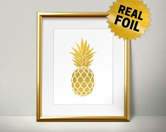 Pineapple Wall Decor, Real Gold Foil Print, Pineapple Art Print, Unique Wall Art, Rose Gold Pineapple, gold pineapple decor
