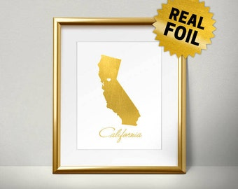 California, Real Gold Foil Print, Ca, State of California, California Wall Decor, Wall Prints for Living Room, wall art prints