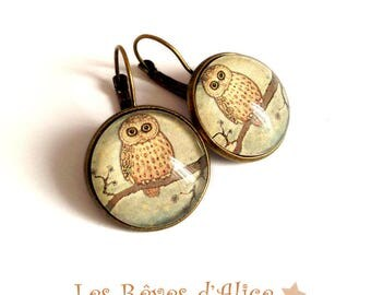 fall OWL earrings bronze nostalgic