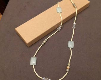 Cream and Blue Beaded Necklace