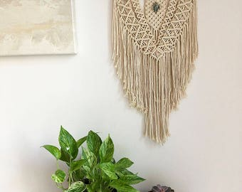 Medium Macrame Wall Hanging on a Foraged Branch with a Green Jasper Crystal, Woven Wall Hanging, Boho Hippie Tapestry, Bohemian Decor
