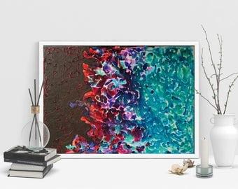 Original abstract mixed media painting on canvas original artwork wall decor modern painting rainbow painting acrylic