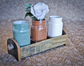 Rustic Wood Centerpiece With 3 Compartments! / rustic centerpieces / wooden centerpieces / reclaimed wood centerpieces