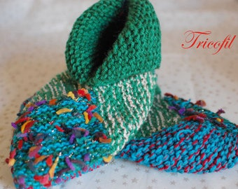 Turquoise green/blue hand knitted adult slippers