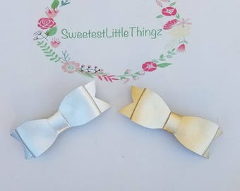 Gold and Silver baby bow set