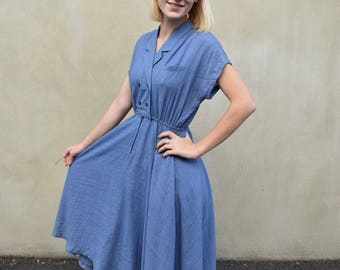 Japanese vintage blue dress | tea length | collar | double breasted buttons | size small/medium