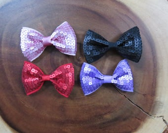 Pink Red Purple Black Matte Sqaure Sequin Bow