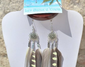 grey long feather earrings