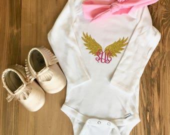 Monogram Angel Wings Onesie