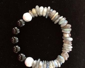 Black onyx, Labradorite, and brushed silver beaded bracelet