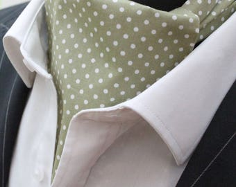 Cravat Ascot UK Made Olive Green Polka Dot. Cravat & Hanky.Premium Cotton.