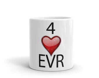 4 Heart Evr Spartees distressed White Mug
