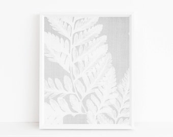 White fern print, fern art, botanical print, leaf wall art, leaf printable, plant printable, plant wall art, abstract art, abstract wall art