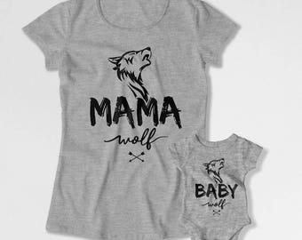 Mother And Son Matching Outfits Mommy And Daughter Shirts Mom And Son T Shirts Mother's Day Gift Mama Wolf Baby Wolf Bodysuit TEP-202-204