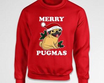 Funny Christmas Sweatshirt Pug Sweater Xmas Hoodie Holiday Outfit Animal Lover Gifts For Pug Lovers Christmas Outfits Xmas Gifts TEP-575
