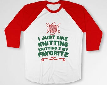Funny Christmas Gifts For Knitters T Shirt Buddy The Elf Quotes Knitting Shirt Xmas Present Ideas Holiday Clothing Raglan Sleeves TEP-585