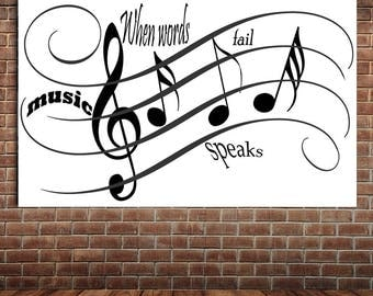 Motivational music quote, enjoy the silence decor, music speaks decor, MusicWallpaper, poster for your hobby, music notes decor
