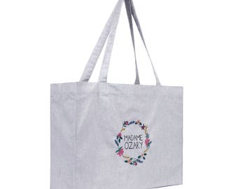Grey embroidered Tote
