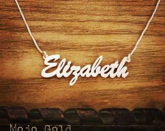 Elizabeth Style Name Necklace & Chain/Sterling Silver Name Necklace/Order Any Name/Personalized Jewelry/Custom Made/Hand Made/Christmas