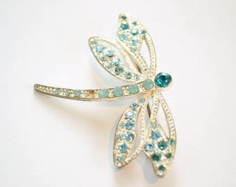 Dragonfly Brooch / Dragonfly Pin / Something Blue / Vintage Silver Brooch / Bug Brooch / Insect Brooch / Animal Brooch / Gift for Women