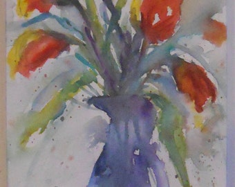 Parrot Bouquet Original Watercolor
