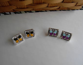 Blue and Purple Butterfly Post Earrings