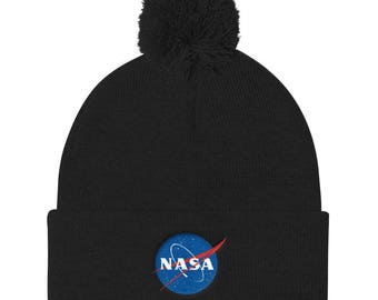 NASA Insignia Embroidered Pom Pom Knit Hat