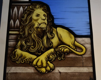Stained glass Lion panel Hand painted and kiln fired