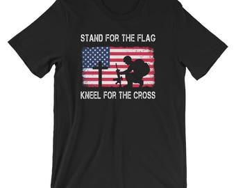 Stand for the Flag Kneel for the Cross UNISEX T-Shirt Veteran Gift