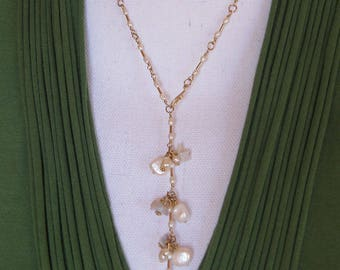 14kt gold-Y necklace-Front Closing-Pearl and opal drop-adjustable-dainty pearl necklace