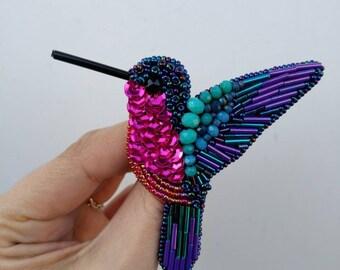 Bird brooch pin Hummingbird beaded jewelry brooch Purple pink pin Crystal glass rhinestone pin Sequin embroidery jewelry Bird lover gift