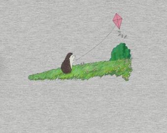 Cute Hedgehog Flying Kite Short-Sleeve Shirt Unisex T-Shirt of Contentment