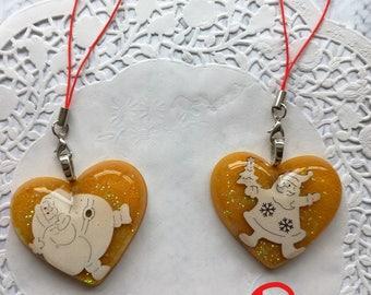 Strap Keychain Santa gold and white resin.