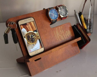 Custom Personalized Men's Wood Docking Station Valet Watch Charging Station Gift for Father's Day