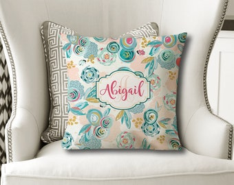 Sprayed Blooms PILLOW, Flower Nursery, Baby Girl Shower, Daughter Gift, Christmas Sister Gift, MONOGRAM Pillow Cover or with Insert