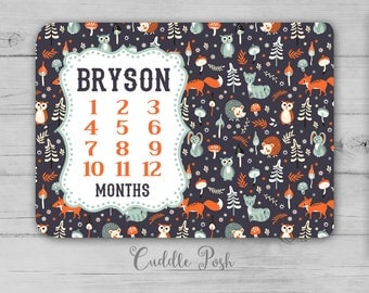 WOODLAND MILESTONE Blanket, Baby Woodland FOX Nursery Bedding, Woodland Photography Backdrop, Personalized Boy Name, Newborn Shower Gift