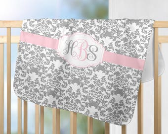 Monogram Blanket-Pink Gray DAMASK Nursery-Personalized Blanket-Baby Girl Name Blanket-Shower Gift-Swaddle Blanket Pillow Set-Baby Pillow