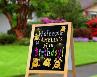 Monster birthday welcome sign, monster birthday decorations, monster birthday party printables, monster birthday party