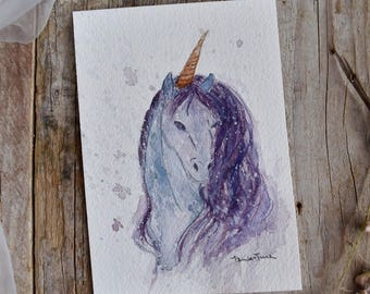 Unicorn with Watercolor