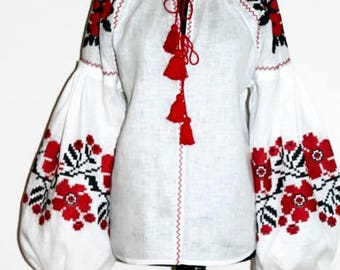 Boho Clothes Vyshyvanka Blouse Bohemian Clothing Ukrainian Embroidery Linen Cloth Ethnic Ukraine Vishivanka Woman Mexican Folk Modern Style