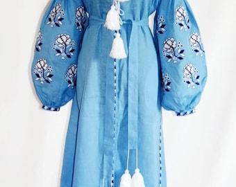 Ukrainian Vyshyvanka Dress Vishivanka Ukraine Embroidery Bohemian Dresses Kaftan Abaya Boho Clothing Ethnic Ukraine Boho chic Clothes