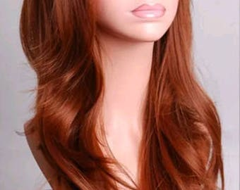 Customizable - AUBURN LIGHT BROWN -  long straight wavy Wig w/ bangs - scene emo cosplay anime punk lolita mermaid hair styles real Wig -